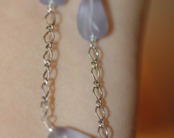 Vintage Frosted Beaded Sterling Necklace