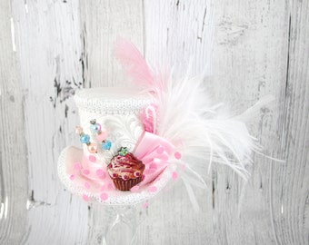 Ivory White and Light Pink Cupcake Cutout Medium Mini Top Hat Fascinator, Alice in Wonderland, Mad Hatter Tea Party