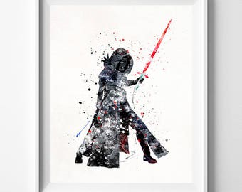 Star Wars Print, Kylo Ren Print, Star Wars Watercolor, Kylo Ren Art, Star Wars Poster, Sci Fi Poster, Star Wars Decor, Mothers Day Gift