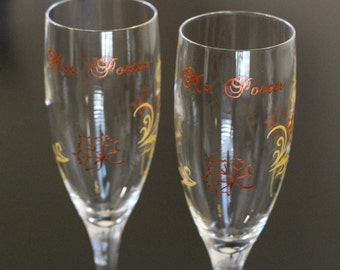 Custom Autumn Fall Wedding Toasting Flutes, Champagne Glasses, Mr. Mrs. Bride Groom Leaves Personalized Hand Painted Rustic Chic Copper Gold