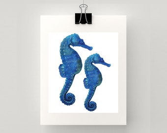 LARGE REPRODUCTION PRINT of Seahorses in blue & green accents - print of my original watercolour painting