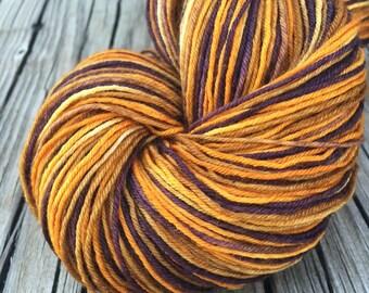 Treasure Chest Hand Dyed Sock Weight Yarn Hand Painted gold brown burnt umber orange yarn 463 yards handdyed Superwash Merino Wool nylon swm