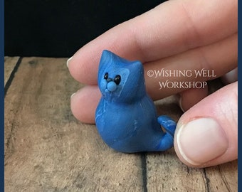 Blue Scrappy Cat B, Miniature Cat, Polymer Clay Cat, Cute Kitty, Kitty, Cat Sculpture, Cat Figurine