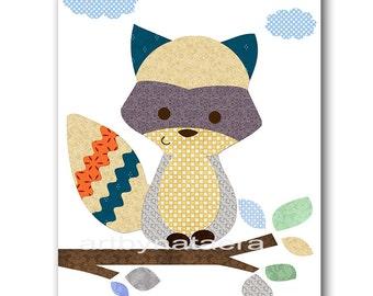 Raccoon Nursery Digital Art Print Digital Download Nursery Digital Print Nursery Printable Art Instant Download Baby Boy Nursery 8x10 11X14