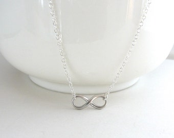 Small Infinity Necklace, Tiny Infinity, Dainty Necklace, Delicate Infinity, Figure Eight Necklace, Matte Silver - Sterling Silver Chain