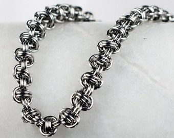 Chainmaille Bracelet - Stainless Steel - Barrel Weave