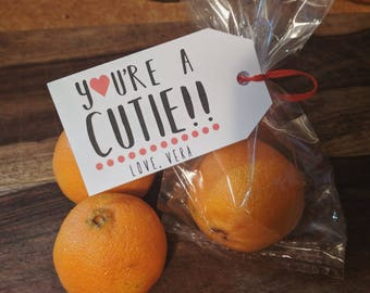 You're a cutie! Personalized Custom Kids Valentines Day Cards Tags Set of 8