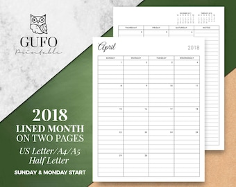 2018 LINED MONTH, 2018 Agenda, Filofax A5, Half Size Inserts, Calendar, Dated Month on 2 Pages, A4, MO2P, Monday Sunday Start