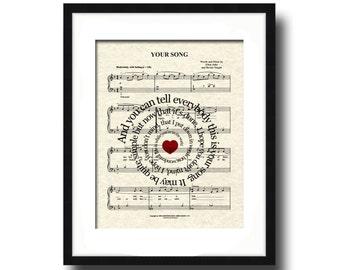 Your Song Lyric Sheet Music Art Print, Love Song Art, First Dance Art, Names and Date, Custom Wedding & Anniversary
