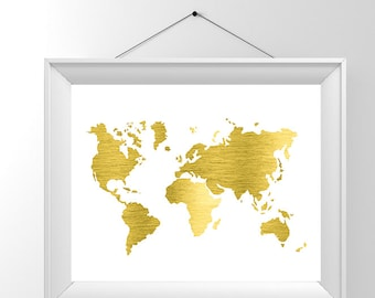 A3 large Gold foil map, map of the world, real gold foil, foiled map print, gold map, office prints, gold travel poster, world map gold