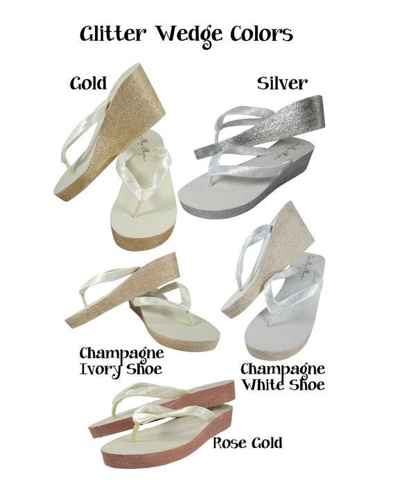 ac05d818f4d434 ... Satin Wedges Flops copper Bows inch Flip Vintage 2 3 5 white 25 gold  amp  ...