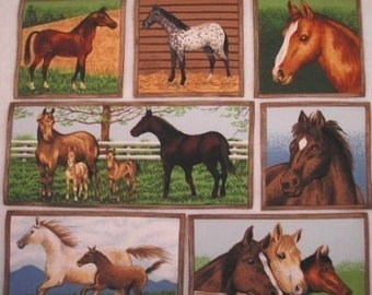 RARE Makower UK Horses Fabric 12 Appliques Iron On Out of Print