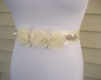 Rhinestone and Flower Sash Bridal Sash Bridal Belt Ivory  or White Satin Sash Flower Girl Sash Bridesmaids Wedding Sash