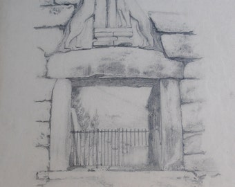 antique original drawing, the Lion Gate, Mycenae, Greece