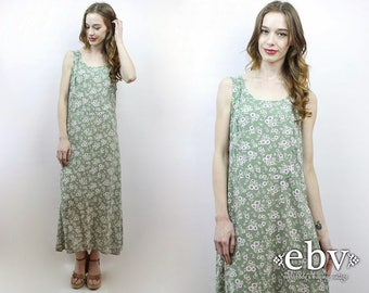 90s Maxi Dress Green Floral Maxi Dress 90s Dress 1990s Dress 1990s Maxi Dress Soft Grunge Dress 90s Floral Dress Festival Dress L