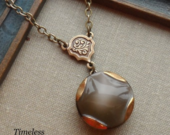 Vintage German Glass Button Necklace, Winter Fog