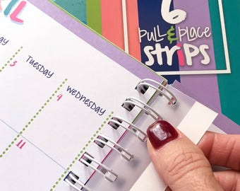 Snap-in, Add-on Pull & Place Adhesive Coil Strips for DIY Added Pages to Your Reminder Binder® or School Days Binders (6-pack)