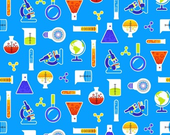 GEEK CHIC - Studio E - Small All over Print - Light Blue  - #3734-11 -  One Half Yard - Microscope - Chemistry Beaker - Globe - Test Tubes
