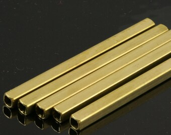Raw Brass Square Tube 75 x 5 mm (hole 3,6 mm) Findings 1620