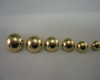 Gold Half Ball Buttons Lot of 6  ( 6 sizes available)