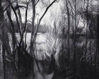surreal dreamy portrait, woman conceptual, girl portrait photo creepy forest, woman face, home decor fine art, haunting, dark wall art trees
