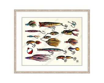 "Colorful Fishing Lures 11""x14"" Giclee Print Of A Watercolor Painting. Fishing Print For The Angler.  Fish Lures. Fish Hooks. Bobber. Tackle."
