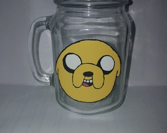 hand painted jake from adventure time drinking jar