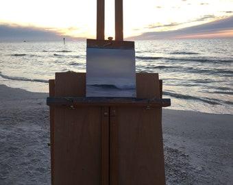 Plein Air Atlantic Ocean Painting, Coastal Landscape, Florida Beach Wall Art, Original Small Seascape Oil Painting, Sunset at Clearwater