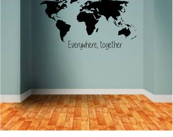 World Map with go find yourself quote Wall Decal