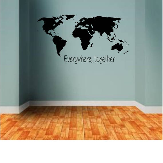 World map with go find yourself quote wall decal gumiabroncs Image collections