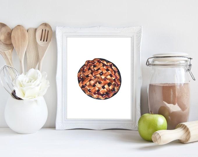 Pie No.1, Strawberry Pie Print, Pie Art, Pie Watercolor, Food Watercolor, Food Painting, Food Print, Pie Wall Art, Foodie, Pie Print, Pies