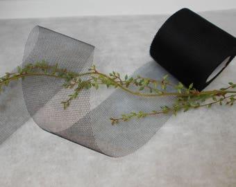 Black tulle - 20 meters roll - width 8cm