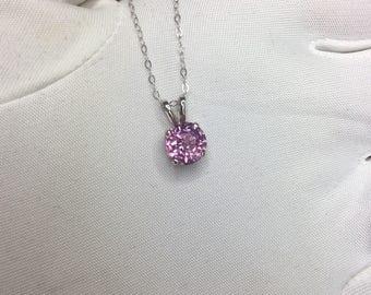 NATURAL Fine VIVID Pink Spinel Pendant 1.60ct Round Diamond Cut 7mm 14k Gold