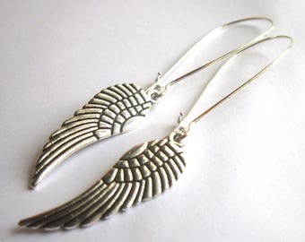 Angel Wing Earrings Silver Plated Long Dangle Boho Jewellery