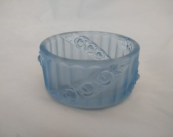 1930's Blue Frosted Glass Trinket Pot