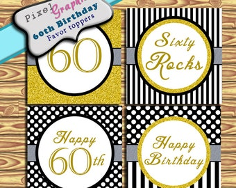 60th Birthday decoration Instant download black gold stripe polka dots Party Supplies Favor Tag Cupcake Topper