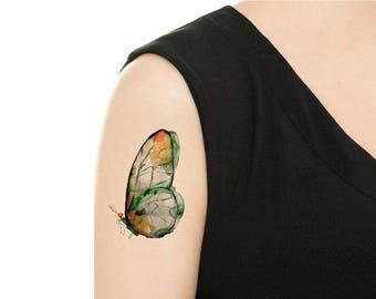 Temporary Tattoo -  Milk Tea / Moon / Watercolor Bird / Watercolor Lion / Watercolor Whale / Tattoo Flash