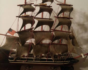Retro age completed model of Cutty Sark sailing ship