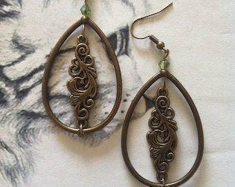 Bronze flowers and spring earrings