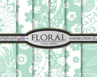 Pastel Mint Digital Paper - Mint Green Floral Digital Paper, Soft Light Mint and White Printable Flower Backgrounds - Instant Download