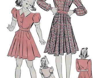 Advance 2317 Girl's 30s Dart Pleated Dress Sewing Pattern Breast 26