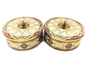 Vintage English Tins - Vintage British Tins - Vintage Cookie Tins Made In England - Vintage Gold Tins - Gold English Tins -  Gold Canisters