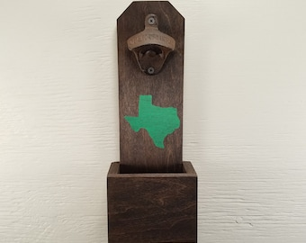 Customize State & Color Wall Mounted Bottle Opener, Texas, Bottle Cap Catcher