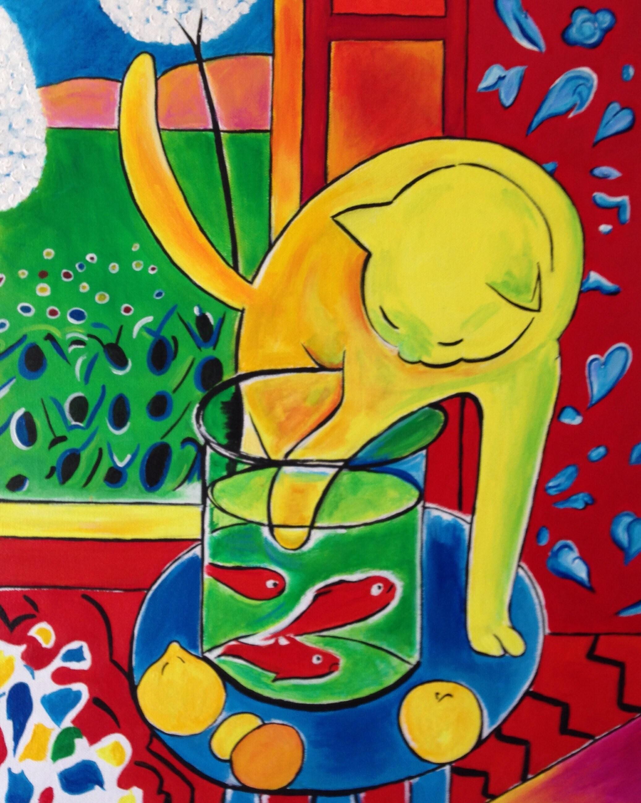 Henri Matisse pintado a mano el gato con la reproducción de