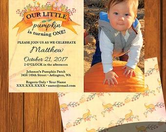 Our Little Pumpkin Birthday Invitation / Toddler Birthday / Fall / Printable / Pumpkin / Birthday / Personalized Birthday / Custom Birthday