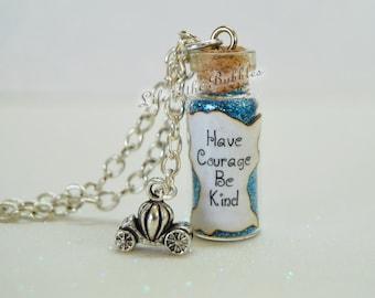 Cinderella Necklace, Have Courage Be Kind Bottle Necklace Pumpkin Carriage Charm, Disney Bound Cosplay, Disney Jewelry, Cinderella Cosplay