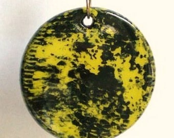 Necklace - Lime Green and Black Reversible Pendant, Hand Painted Abstract Wood Pendant, Lava Rock Bead on Black Cotton Cord Necklace