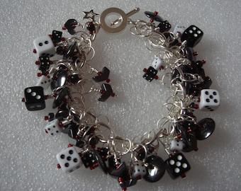 Black & white dice bracelet