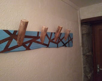 Blue sky and 4 hooks with stained wood coat Rack / storage / furniture / organization / reclaimed wood