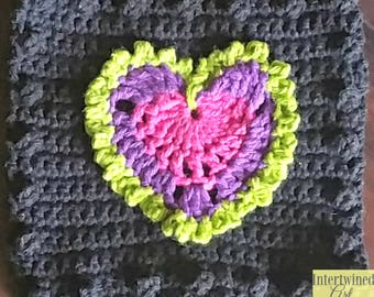 Crochet Heart Applique Granny Square PATTERN: Like a BOSS Blanket Series pdf instant digital download